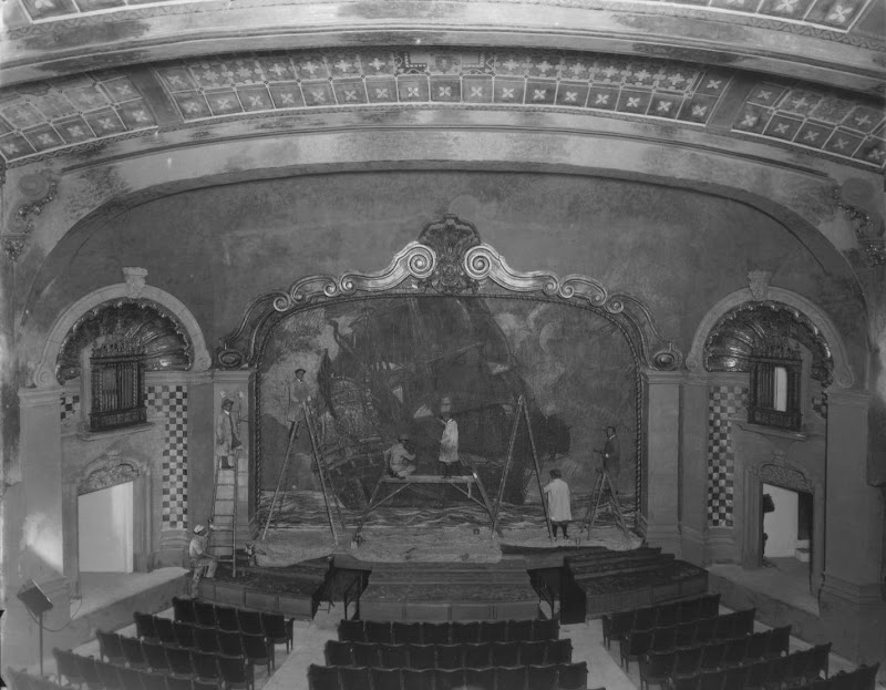 Pasadena Playhouse, scene-painters on the stage Photo courtesy of Pasadena Playhouse