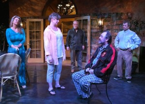 "Radford (left) in ""God Only Knows"" at Theatre Forty through April 20. (See New Reviews); Photo by Ed Krieger"