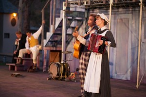 """Danny Campbell, Andre Martin, David Melville and Julia Aks, in ISC's """"Twelfth Night"""" (Photo by Grettel Cortes)"""