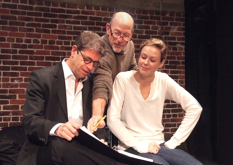 Playwright Allen Barton, director Joel Polis and actress Carter Scott in rehearsal. (Photo by Ed Krieger)