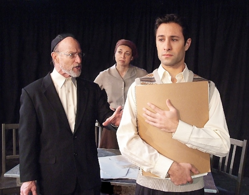 Joel Polis, Anna Khaja and Jason Karasev in The Fountain Theatre's Stage Raw Theater Awards-nominated production, MY NAME IS AHSER LEV. (Photo by Ed Krieger)
