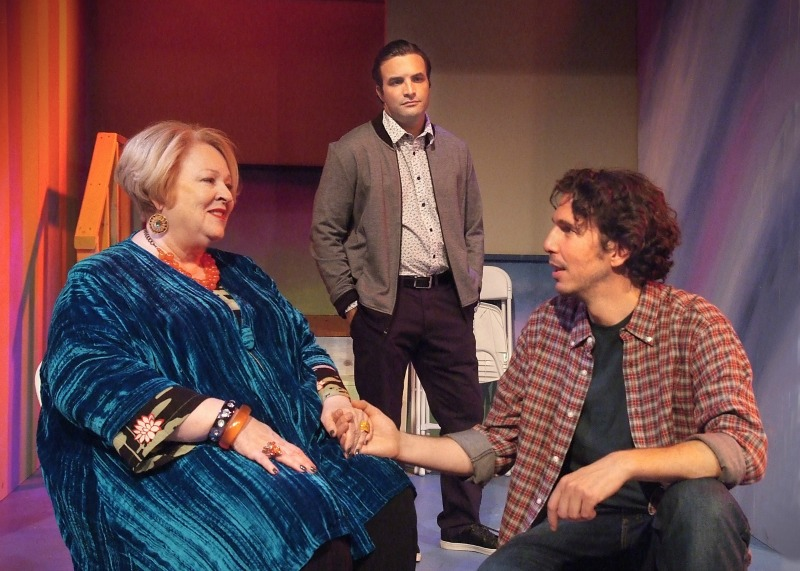 Dale Raoul as Jack's Jewish mama, Michael Rubenstone as Jack, and James Liebman as Jack's husband Ben in 'Forever House' by Tony Abatemarco, directed by Elizabeth Swain (Photo by Ed Krieger).