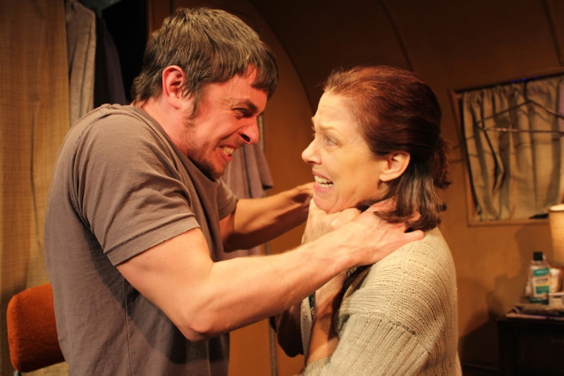 Chad Addison and Perry Smith  in Connect, Robert Lawrence Nelson's melodrama at Theatre 68 (Photo by Isabel Wagner)