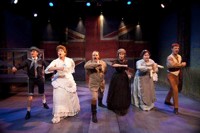 Deborah Puette as Edward, Bill Brochtrup as Betty, Bo Foxworth as Clive, Liza de Weerd as Maud, Abigail Marks as Ellen, Chad Borden as Joshua in Cloud 9 at the Antaeus Theatre Company (photo by Geoffrey Wade Photography)