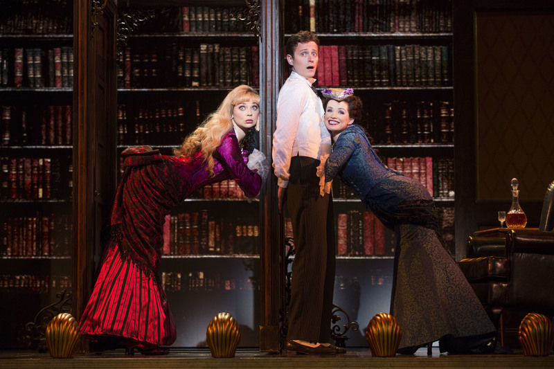 Kristen Beth Williams, Kevin Massey and Adrienne Eller in 'A Gentleman's Guide to Love & Murder' at the Ahmanson Theatre (photo by Joan Marcus)