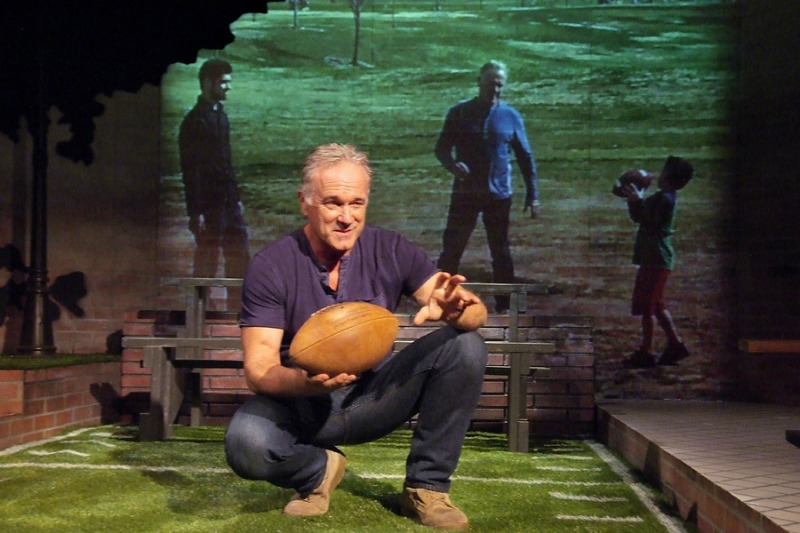 Writer/performer John Posey  in Father, Son and Holy Coach at the Odyssey Theatre (photo by Ed Krieger)