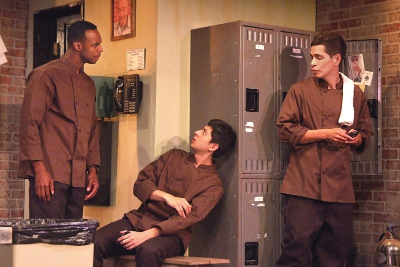 Lawrence Stallings, Pablo Castelblanco and Peter Pasco in My Mañana Comes at the Fountain Theatre (photo by Ed Krieger)