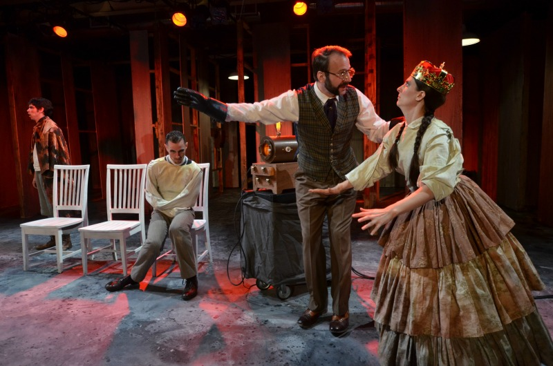 Tyler Bremer, Andrew Eldredge, Thaddeus Shafer, and Alexis Jones in Four Clowns' Lunatics & Actors at the Shakespeare Center of Los Angeles (photo by Andrew Eiden)