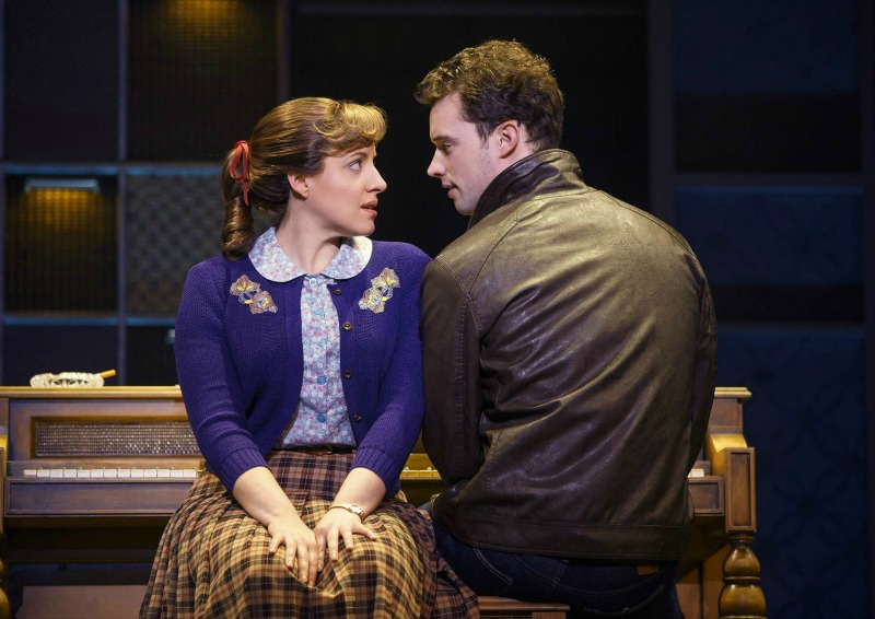 Abby Mueller and Liam Tobin in Beautiful - The Carole King Musical at the Pantages Theatre (photo by Joan Marcus)