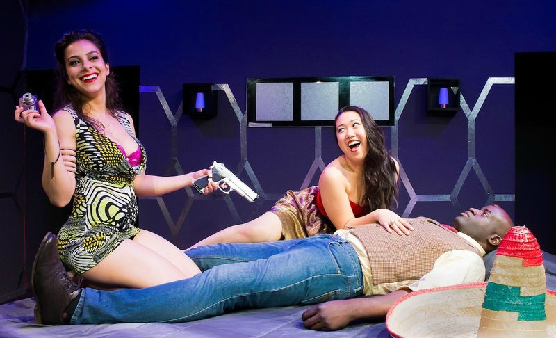 Paula Rebelo, Cindy Nguyen and Tope Oni in Sheila Callaghan's That Pretty Pretty; or, The Rape Play at Son of Semele Theater (photo by Laura Carson)