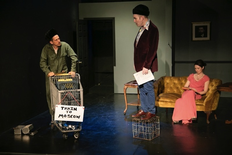 Adam Tomei, Brian Wallace, and Claire Winters in G.D. Kimble's Locomotive Repair in Three Easy Steps at The Dorie Theatre at the Complex (photo by Lance Dawes Photography)