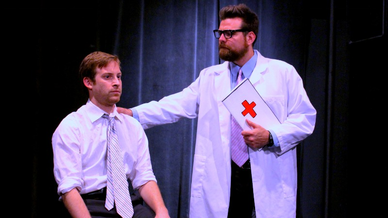 Robert Walters and Paul LeSchofs in Shitty Awful Everything at the OMR Theatre at the Complex (photo by Cade Peterson)
