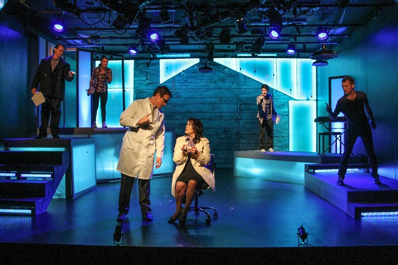 Nick Sarando, Isa Briones, Randal Miles, Michelle Lane, Blaine Miller and Harrison Meloeny in Next to Normal at The Pico Playhouse. (photo by John Dlugolecki)