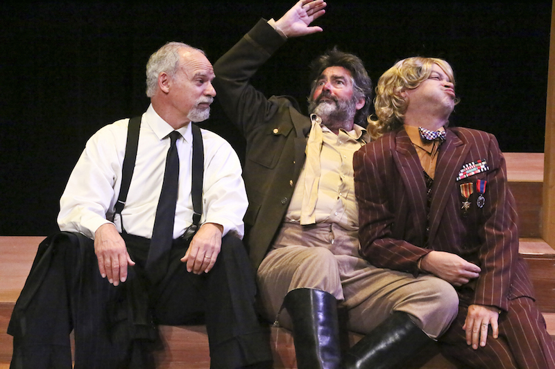 Fred Sanders, Stephen Caffrey and Christopher Rivera in Shakespeare Center of LA's TWELFTH NIGHT. Photo by Michael Lamont