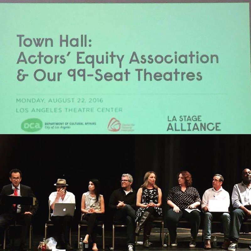 LA STAGE Alliance town hall on August 22. Left to right: Steven Leigh Morris, Gary Grossman, Armina LaManna, Larry Poindexter, Vanessa Stewart, Rebecca Metz, Tom Buderwitz and Michael Shepperd. Photo by John Lacey