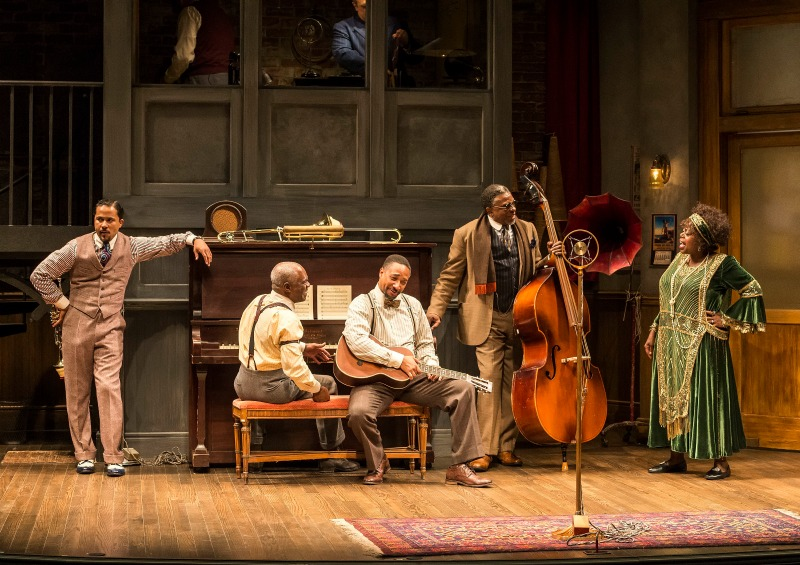 Jason Dirden, Glynn Turman, Damon Gupton, Keith David and Lillias White in Ma Rainey's Black Bottom at the Mark Taper Forum (photo by Craig Schwartz)