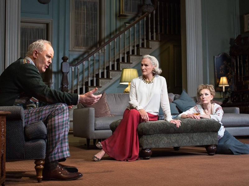 John Lithgow, Glenn Close and Lindsay Duncan in in the 2014 Broadway production of A DELICATE BALANCE (Photo by Brigitte Lacombe @Broadway.com)