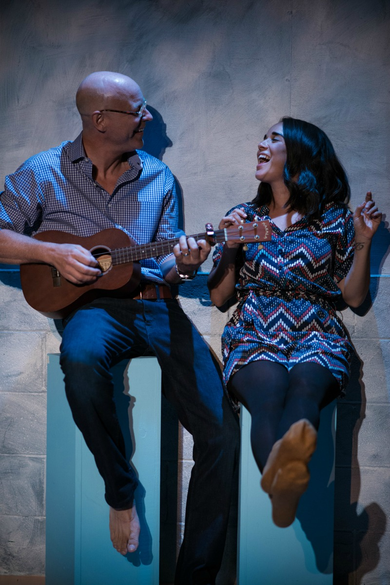 James MacDonald and Xochitl Romero in Mutual Philanthropy, Ensemble Studio Theatre/LA at Atwater Village Theatre (photo by Lew Abramson)