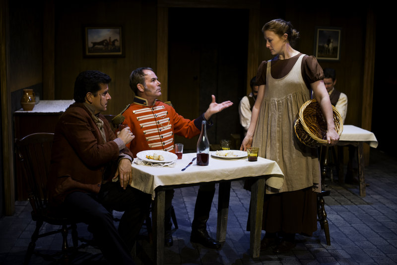 Brendan Farrell, Matt McKenzie and Julia McIlvaine in A Touch of the Poet  at Pacific Resident Theatre (Photo by Vitor Martins)
