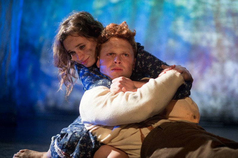 Angela Giarratana and Caleb Foote in Hansel and Gretel Bluegrass at the 24th Street Theatre (Photo by Cooper Bates)