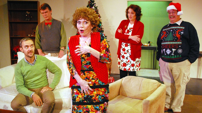 Greg D. Barnett, Patrick Burke, Marcia Rodd, Belinda Howell and Fox Carney in Phil Olson's A Nice Family Christmas at the Lonny Chapman Theatre. (Photo by Doug Engalla)