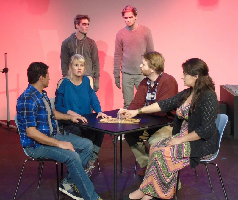 Peter Nikkos (l.), Meg Wallace, Travis Stevens, Benjamin Hoekstra, Brian Graves, Laura Gudiño in In the Balance at Studio/Stage (Photo by Riley Beckham)