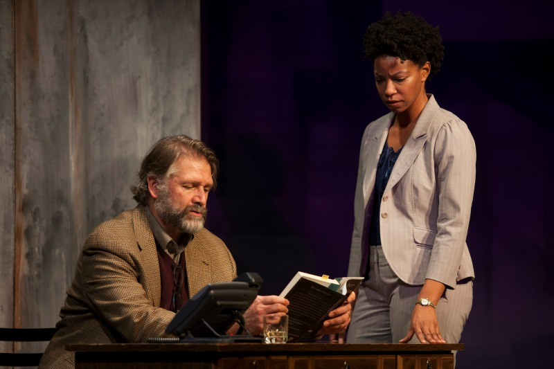 Christian Lebano and Tamarra Graham in Bee-Luther-Hatchee at the Sierra Madre Playhouse (Photo by Gina Long)