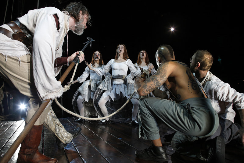 Christopher Donahue, Kelley Abell, Kasey Foster, Cordelia Dewdney, Anthony Fleming III and Jamie Abelson in Moby Dick at South Coast Repertory/Segerstrom Theatre  (Photo by Debora Robinson)
