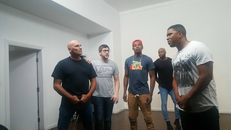 Mark Youngs, Justin Tuthill, Kyle Blakely, Monti Washington, and Glenn Blond II. (Photo: Courtesy of When Lives Matter: The Play)