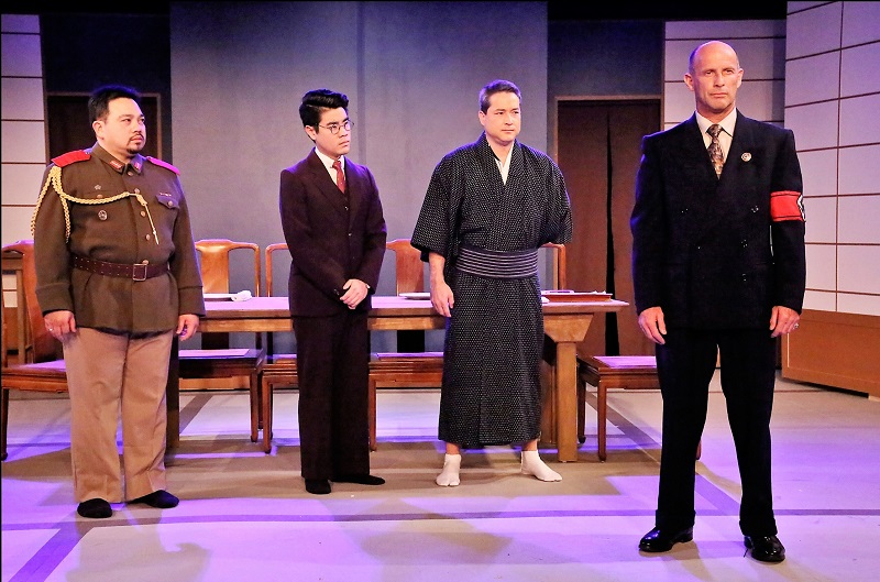 Marcel Licera, Scott K. Takeda, Ryan Moriarty and David Preston in Fugu at Pico Playhouse. (Photo by Michael Lamont)