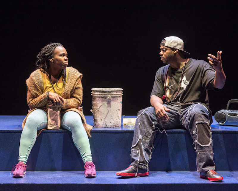 L-R: Playwright Ngozi Anyanwu and Marcus Henderson in the world premiere of Ngozi's Good Grief. (Photo by Craig Schwarz)