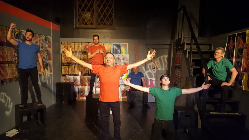 Jordan Santoro, Charles Anteby (elder), Matthew B. Ramos, Terry Houlihan (elder), Joseph C. Baken, and Jeffrey Wylie in Letters from Young Gay Men from Studio C Artists. (Photo by Matthew Quinn)