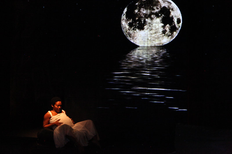 Jaquita Ta'le in  Little Children Dream of God at the Road Theatre Company (Photo by Michele Young)