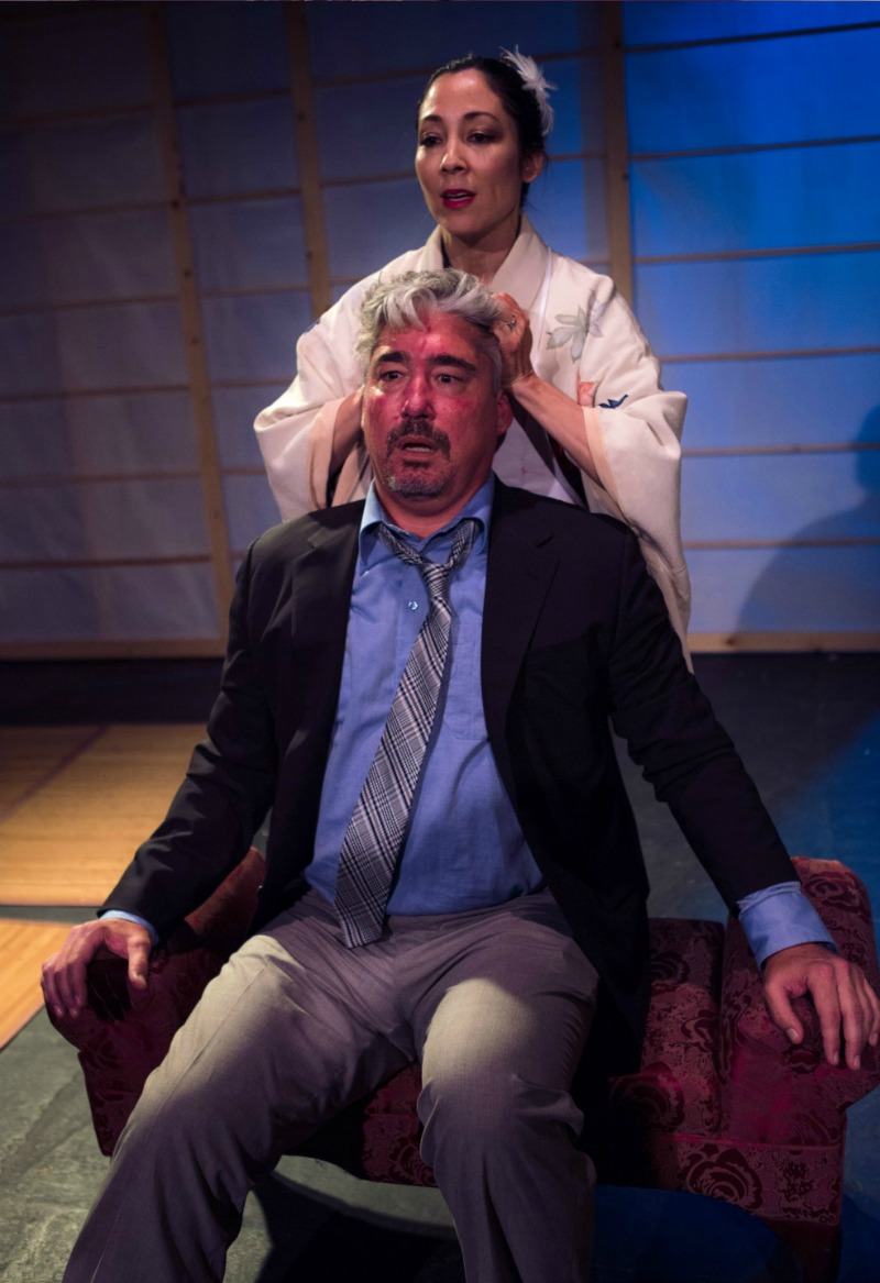 Keiko Elizabeth and Darrett Sanders in Supper at Theatre of NOTE (Photo by Eric Neil Gutierrez)