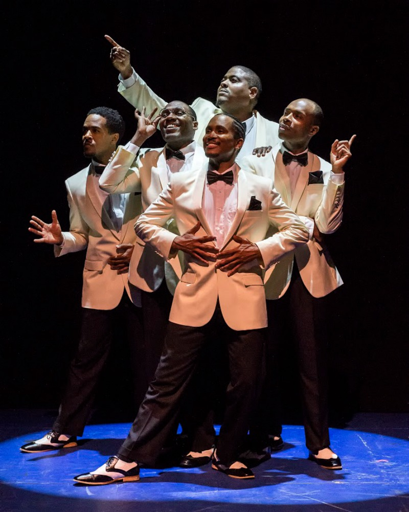 Eric B. Anthony (front), Trevon Davis, (middle row), Rogelio Douglas Jr., Jacques C. Smith and Octavius Womack (rear). Five Guys Named Moe presented by Ebony Rep at the Nate Holden Center for the Performing Arts (Photo by Craig Schwartz Photography)