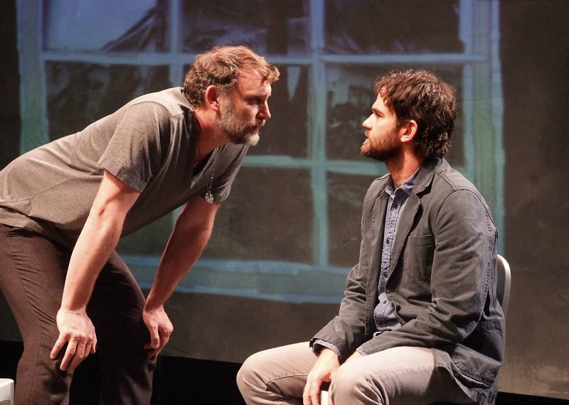 Tim Cummings and Brian Henderson in The House in Scarsdale: A Memoir for the Stage at The Theatre at Boston Court. (Photo by Ed Krieger)