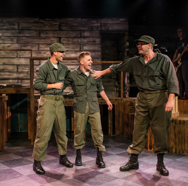 Trent Mills, Payson Lewis, and Spencer Strong Smith in Dogfight at the Hudson MainStage Theatre. (Photo by Nicole Priest)