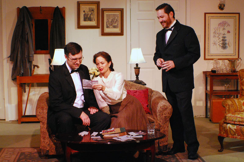 "Justin Waggle, Carrie Schroeder and Adam Jonas Segaller in Dial ""M"" for Murder at the Lonny Chapman Theatre. (Photo by Doug Engalla.)"