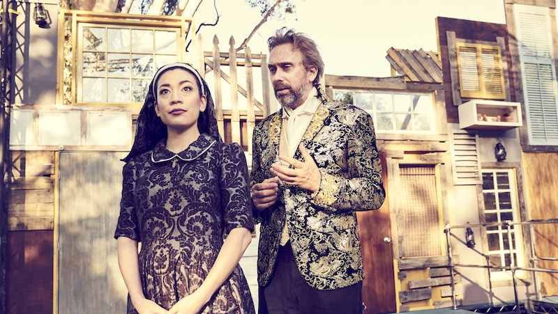 Kaleen Ung and David Melville in Measure for Measure, Independent Shakespeare Company at the Old Zoo in Griffith  Park. (Photo by Mike Ditz.)