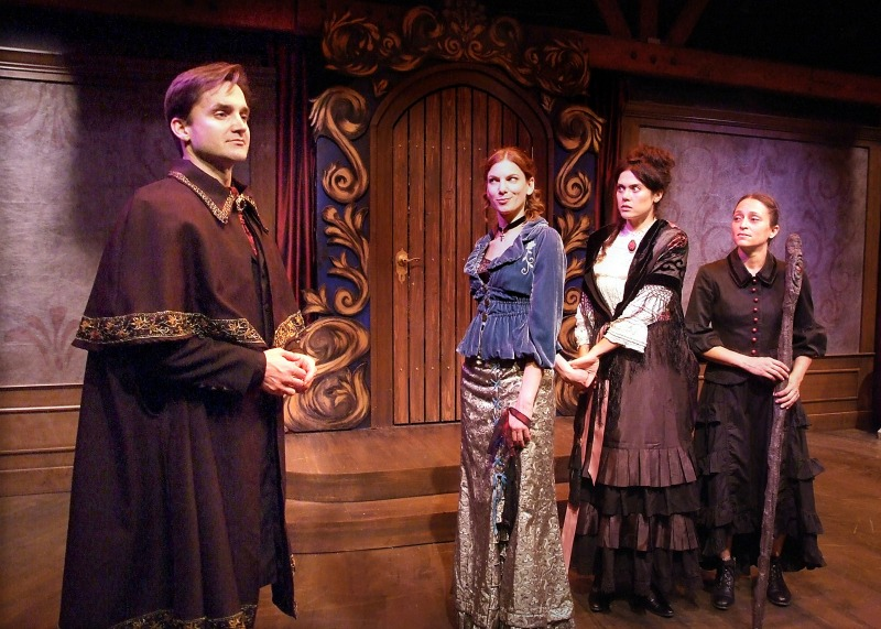 Everette Wallin, Alana Dietz, Mariel Neto and Caro Zeller in The Devil's Wife at the Skylight Theatre. (Photo by Ed Krieger)