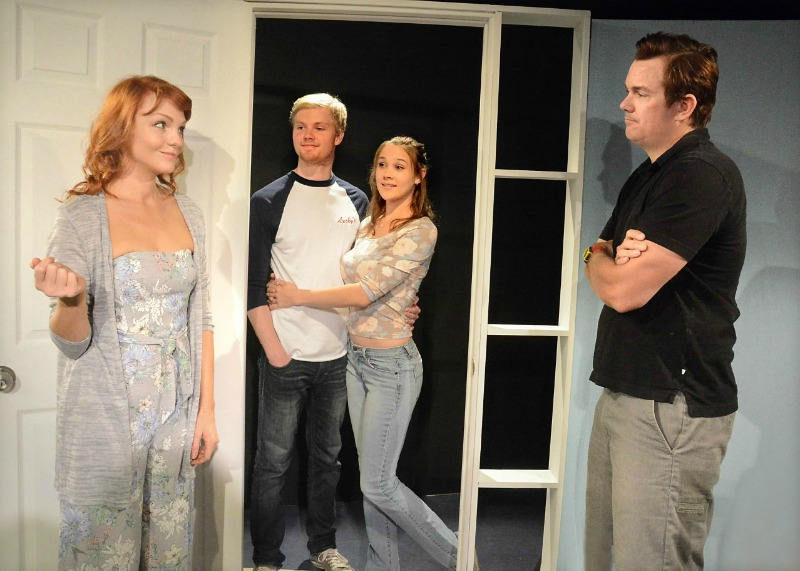 Anne Leighton, Ryan Cargill, Megan Baker, and Jeff Pride in The Marriage Zone  at the Secret Rose Theatre. (Photo by Ed Krieger.)