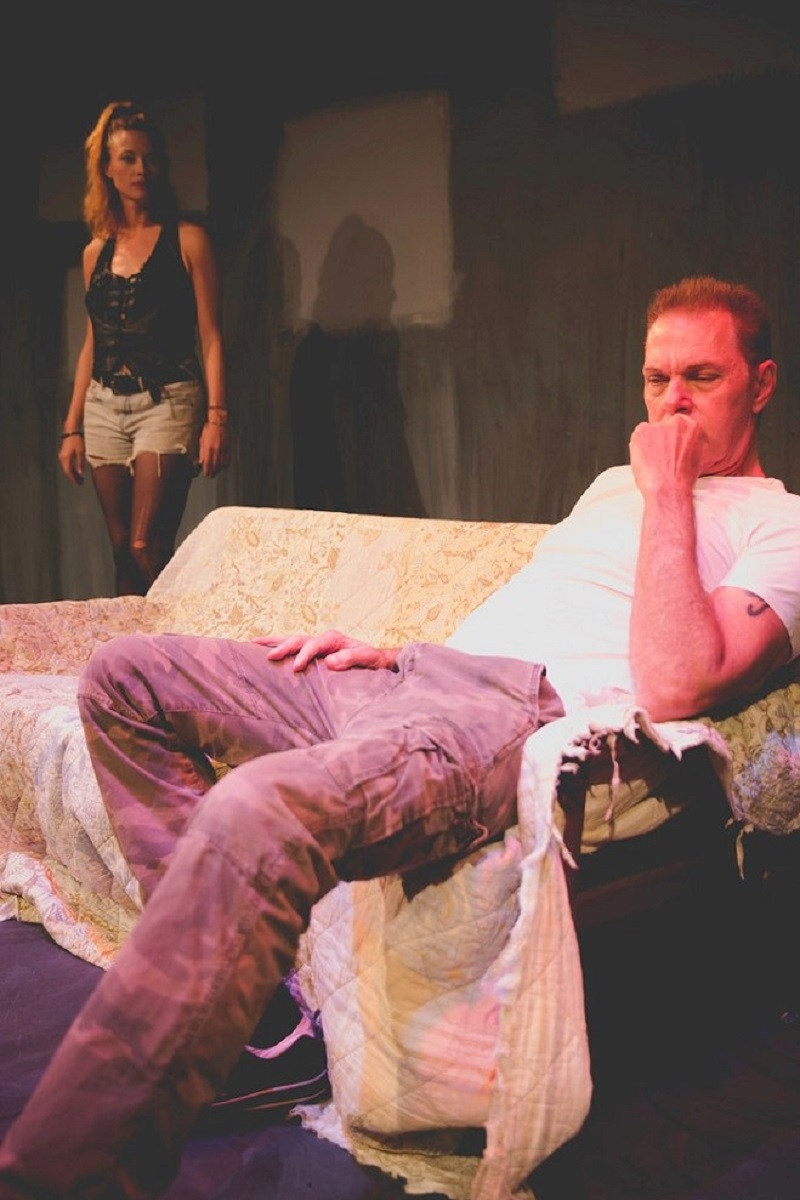 Scottie Thompson and Sal Landi in John Patrick Shanley's The Dreamer Examines His Pillow at The Lounge Theatre. (Photo by Logan S. Hufford)