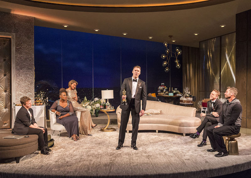 Tom Phelan, Kecia Lewis, Wendie Malick, Brian Hutchison, Max Jenkins and Luke Macfarlane in Big Night at the Kirk Douglas Theatre. (Photo by Craig Schwartz)