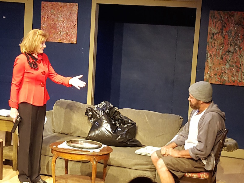 Suzanne Collins and David Mingrino in Strangers No More, Write Act Repertory at the Brickhouse Theatre. (Photo by Linda Rand)