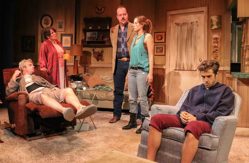 Joe Hart, Taylor Gilbert, Rob Nagle, Allison Blaize and Ben Theobald in Stupid Kid at the Road Theatre Company. (Photo by Brian Cole)