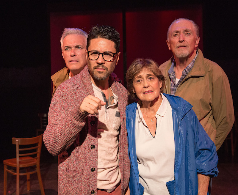 Christopher Cappiello, Justin Huen, Laura James and  Ben Martin in Walking to Buchenwald, Open Fist Theatre Company at Atwater VIllage Theatre. (Photo by Darrett Sanders)