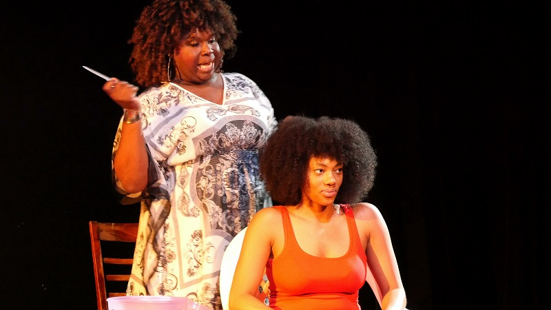 Miss Barbie Q and Skye Ellis in Comb Your Hair (Or You'll Look Like A Slave) at Arena Stage. (Photo by Doug Haverty)