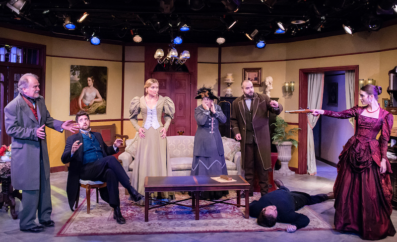 The ensemble in Resolving Hedda, at the Victory Theatre. (Photo by Tim Sullens)