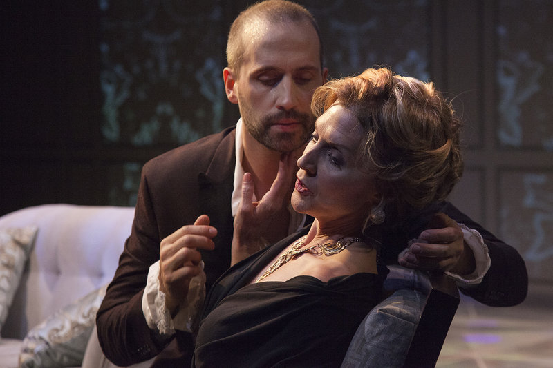 Scott Ferrara and Elyse Mirto in  Les LIaisons Dangereuses at the Antaeus Theatre Company. (Photo by Geoffrey Wade Photography)