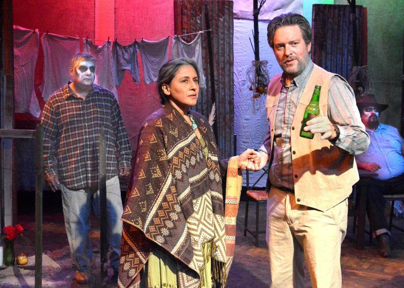 Javier Ronceros, Zilah Mendoza, William Jaramillo and Paul Renteria  in An Enemy of the Pueblo at Casa 0101 Theater. (Photo by Ed Krieger.)